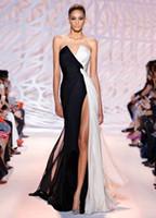 Wholesale Vestidos red carpet dresses Black and White V neck Evening Gowns Dresses High Split Zuhair Murad Chiffon Sleeveless Zipper Floor Length