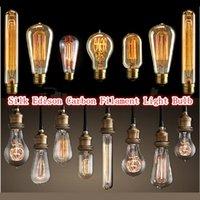 antique candle chandeliers - America hot sale Edison Antique Bulb Carbon Filament Lamp Chandelier Silk Bulb Lamp Antique Lamp Light Edison Light Bulb Incandescent Bulbs