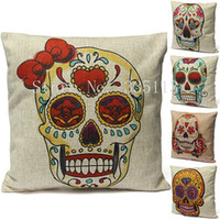 Cheap Vintage Pillowcase Home Decor Sugar Cute Colorful Skull Cotton Linen Throw Pillow Cushion Cover Case Sofa Bed Room Back Relax