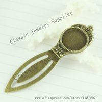 Wholesale DIY Vintage Style Antiqued Bronze Alloy Fit for mm Cameo Cosmetic Mirror Shaped Bookmark Accessories