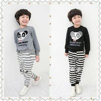 sport clothing wholesale - Summer Kid Clothing Set Boy Clothes Cartoon Letter Panda Fringe Cotton Long Sleeves O Neck Solid Sport Style Gray Black SJX06