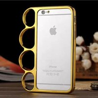 al por mayor teléfono de latón-Protector libre de la pantalla + nuevo anillo de cobre amarillo de la cubierta de la caja del teléfono del cromo del anillo del dedo del puño para el iPhone de Apple