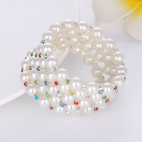 costume jewellery set - 10mm Simulated Pearl Crystal Bangle Rhinestone Stretchy Bracelet Costume Jewellery Evening Party Bridal Accessories Gift Rows