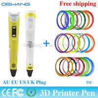 Wholesale 3D Printing Drawing Pen Crafting Modeling With Color M ABS Filament Arts LED Printer Tool AU US UK EU Plug