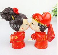 Wholesale Cheap wedding cake toppers decorations bride and bridegroom Figurine Chinese couple wedding cake topper Valentine s Day gift