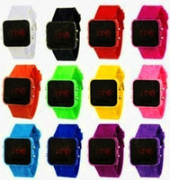 band colours - Mix12 colours LED Mirror watch screen Digital Watch soft band Jelly LED Candy Watch LM001