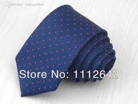 Precio de Venta al por mayor corbata roja-La corbata de la manera de la venta al por mayor (1 pedazo / porción) / la corbata azul marino / la corbata roja de los muchachos 6cm del desgin del punto / el lazo de vestido de la camisa del hombre liberan el envío