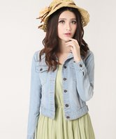 Cheap Autumn Spring New 2015 Plus Size Vintage Cropped Denim Jacket Short Long-sleeve Cardigan Coat Jean Jacket