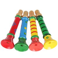 Unisex wooden toys for children - Multicolor Wooden Trumpet Buglet Hooter Bugle Educational Toy for Kids Children Musicial Toy