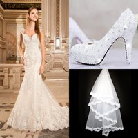 lace wedding shoes - 2015 Sexy See Through Backless Floral Lace Appliques Cap sleeve Sweetheart Vestidos Glamorous Mermaid Wedding Dresses dress Shoes veil