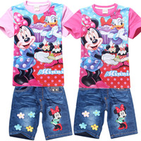 children clothings - Summer girls clothing set mickey mouse cartoon cotton t shirt denim shorts pants suit baby boys clothes children outfits kids clothings