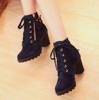 Wholesale BUENO hot sale women s high heel short boots platform snow boot winter fashion HM109