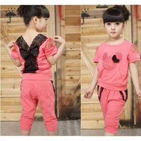 Cheap baby clothes minnie mouse clothing,new 2015,kids girl clothes set,girls clothing set,sport suit,lace,summer,T-shirt + pants set