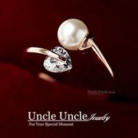 al por mayor las perlas del corazón al por mayor-Color de oro rosa nunca dejar ir estilo gemelo estilo de forma de corazón zircon simulado perla dedo anillo de dama al por mayor