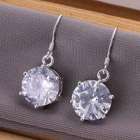 Cheap Fashion 925 Sterling Silver Big Round Crystal Zircon Earrings Dangle Charms Earrings