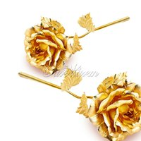 24k gold rose - Gold Blue Red Dipped Rose Artificial Flower Plastic with Gold Foil Plated K for Valentine s day Craft Gift