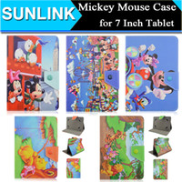 Wholesale Universal Mickey Minnie Mouse Winnie Cute Cartoon Frozen Elsa Folio Folding Stand Case Cover for Samsung Galaxy Tab Inch Tablet PC Phone