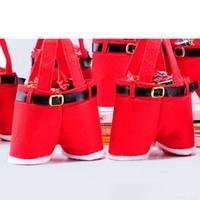 Cheap Hot Santa Pants Style Christmas Candy Gift Bag Xmas Bag Gift Christmas Sugar Packaging Bag Flannel Bags Shopping Bags Christmas Bags 1712016