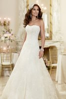 beach - 2015 Custom Made Strapless Semi Sweetheart Neckline Bridal Gowns Elegant A Line Cathedral Train Lace Beads Tulle Beach Wedding Dresses Olesa
