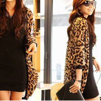 Wholesale New Fashsion Leopard Print Batwing Sleeve Cape Tunic Chiffon Cardigan Lady Tops Shawl Dave