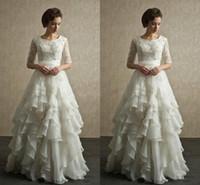 bead shapes chart - 2016 Wedding Dresses With Sleeves A Line Shape Half Sleeve Bridal Dress Lace Wedding Dress Flouncing Beach Garden Full Back Zipper Plus Size