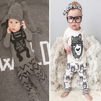 Girl Spring / Autumn Long Baby Boys Girls Cartoon Bowtie Bear Sets 2016 Children Printed Outfits NWT Summer Suitst Top Tshirt Sport Boutique Pajamas Clothes DG16-b10