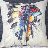 """Cheap 18*18 """" Vintage Ikea Decorative Indian Skull Print Throw Cushion Cover Pillow Case for Bedding Sofa Home Decorations"""