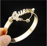 Wholesale 2015 Fashion Crystals Bracelet Gold Silver Charm Bracelets Bangles For Women Fashion Jewelry Wristband Girl Gift