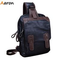 aaron school - Aaron New Arrival Vintage Men Messenger Bag Large Capacity Leather Chest Bag Packs Satchel Belt Buckle Cover School Bag