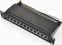 Wholesale SOHO quot Cat port patch panel full shielded with cable management support bar rackmount