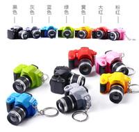 Wholesale Vintage Camera led luminous voice creative keychain pendant key ring mini dual flash