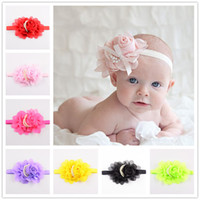 baby picture props - New xayakids DIY hairpin Foreign trade supply shop new rose pearl CHIFFON FLOWER baby hair with color pictures of props DHL