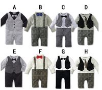 Wholesale Baby Romper New Baby boys Romper Gentleman modelling infant long sleeve climb clothes kids body suit