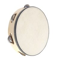 Wholesale 90pcs new arrive Toy Musical Instrument Tambourine inch Hand Held Tambourine Drum Bell Birch Metal Jingles Musical Toy for KTV Party D126