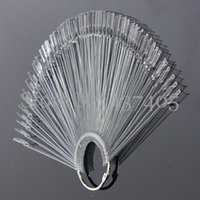 Wholesale 50pcs Set Clear False Nail Art Board Tips Stick Polish Display Foldable Practice Fan