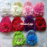 Cheap Free Shipping 10set Toddler Infant Baby waffle Stretch Crochet Hats with big peony flowers 10Colors Kufi baby hat with daisy