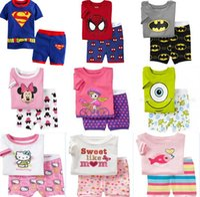 Cheap boys short pajama sets Best cartoon children pyjamas