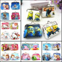bag button - Despicable Me Minions Sofia Elsa Anna KT cat cartoon Coin Purse iron button wallet shell bags purses kids girls boys Gifts HX