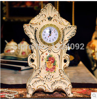 antiques end tables - European high end luxury fashion creative living room Royal clock table clock Home Decoration decorative ceramic watches
