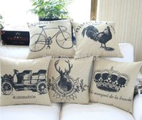 Wholesale Super quality Cotton Linen Retro American style Hold Cushion Cover Waist Pillowcase patterns of DECORATIVE PILLOW