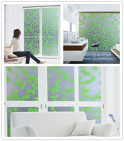 privacy window cling - No glue static cling glass privacy window film Sticker home decor living room green leaf