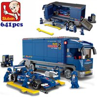 automobile wholesalers - Sluban F1 Racing derrick cargo Truck building blocks carrier automobile vehicle cart Transporter bricks M38 B0357