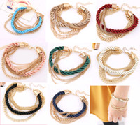 Wholesale 2016 Lady Party Dress Bracelets Chain Colors Charm Bracelets fashion goods Woman Bracelet Weave Chains Girls Accessory