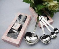 Wholesale 100 BBA4633 Heart Shaped Spoons set Wedding Favors LOVE gifts Tea Time heart shaped Stainless Herbal Tea infuser spoon set tableware
