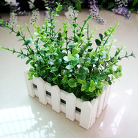 artificial potted plants - Home decoration set bonsai wood stand pot with artificial green plant decorative plants and pots