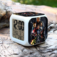 Wholesale 3D cartoon Marvel s The Avengers Frozen Digital desk table alarm clock Elsa Anna daily alarms colors watch Glowing Clocks B238