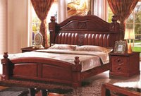 Wholesale Solid wood furniture antique wood bed meters with modern design column classical section double bed wood bed frame