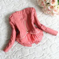 Wholesale Hot Sale Kids Coat Winter Korean Style Fashion Girl Fur Coat Zipper Splice Lace Thicken High Quality Coat