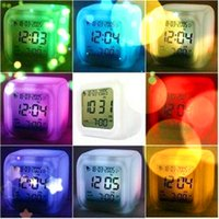 Wholesale Luminous Clock LED Colorful Creative Changing Digital Unique LCD Alarm Clock Birthday Gift Thermometer Date Time Night Light Casual Clock