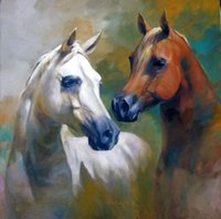 abstract horse paintings - Handcraft animal Oil Painting on Canvas NO frame Brown white horses